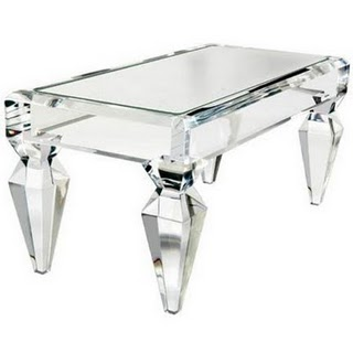 Lucite Mirror Top Coffee Table
